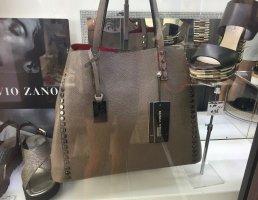 stylische Tasche Shopper von MONICA FERRUCCI aus Italien * braun * mit rotem Samt