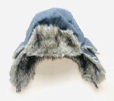 Futrzana czapka ciemnoszary-brąz