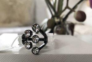 1.2.3 Paris Statement ring zwart-zilver