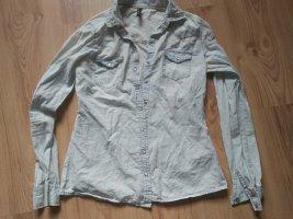 Stylisches dünnes helles Jeansoptik Hemd 36 34-36
