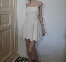 Subdued schulterfreies geripptes Kleid in weiß / creme