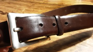 Suchard & Friese Leather Belt silver-colored-dark brown leather