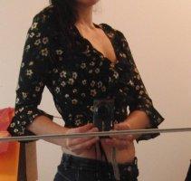 Süße Cropped Wickelbluse von EDITED - Romantik-Look - schwarz geblümt - WIE NEU