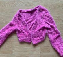 Bershka Sweat Jacket pink-neon pink