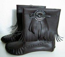 Süße Indianer Boots Slouch Stiefel Größe 37 Braun Fransen Mokassin Kayla Leder