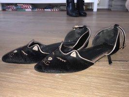 Asos Ballerines à lacets noir-doré
