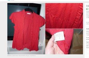 Süße rote Punkte-Bluse Gr 36