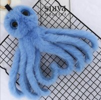 süße Schlüssel-/ Taschenanhanger kuschelige Krake in blau NEU