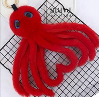 süße Schlüssel-/ Taschenanhanger kuschelige Krake in rot NEU