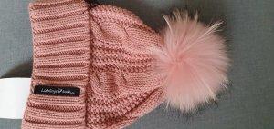 süße Strickmütze mit Fellbommel in rosa, neu mit Etikett