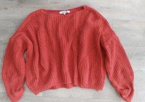 anna & ella Szydełkowany sweter czerwony-ceglasty