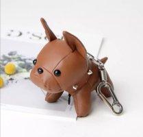 Süßer Schlüssel-/Taschenanhänger Bulldogge Hund in braun, silber, Leder NEU