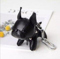 Süßer Schlüssel-/Taschenanhänger Bulldogge Hund in schwarz, silber , Leder NEU