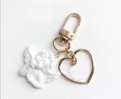 Süßer Schlüssel-/Taschenanhänger Engel Herz in golden NEU