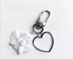 Süßer Schlüssel-/Taschenanhänger Engel Herz in silber NEU