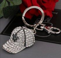 Süßer Schlüssel- /Taschenanhänger glitzer, silber Basecap aus Metall NEU