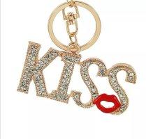 Süßer Schlüssel- /Taschenanhänger KISS gold Strass Metall *NEU*