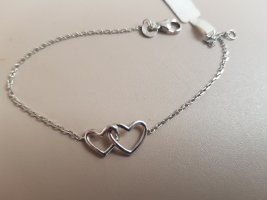 Süsses Armband 925, 2 verschlungene Herzen neu