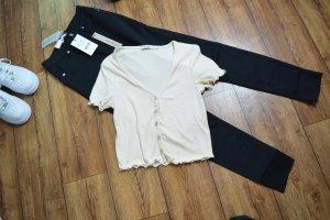 Süßes Cropped Ribbed Shirt beige Nakd 38
