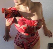 Süßes Designer Body mit Rüschen one shoulder beige rot Palmen Orchidee brazilian Schwimmanzug S Johanna Ortiz 2020