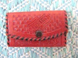 Süßes kleines Schlüsseletui Etui Schlüssel Rot Echtes Leder Hippie Mexico