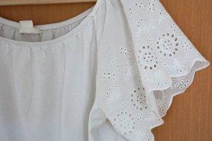 H&M Top épaules dénudées blanc coton