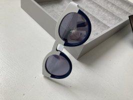 Sunday Somewhere lässige Sonnenbrille weiß blau rund Hipster Look wie Neu Sommer