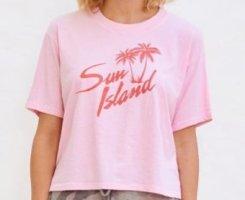 Anthropologie T-shirt różowy neonowy-jasny różowy Bawełna
