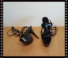 Sunset Strip High Heels Lack Plateau Sandaletten Platforms Damenschuhe Gr. 42 - 16cm schwarz