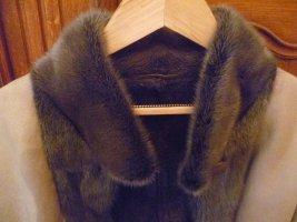 Giacca in pelliccia color cammello-marrone-grigio Pelle