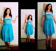 Flounce Dress neon blue-white