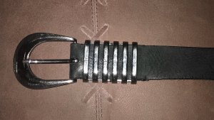 Diesel Leather Belt black-silver-colored leather