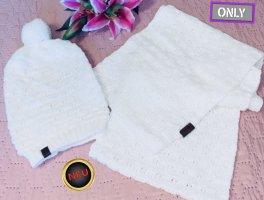 Only Sciarpa lavorata a maglia bianco sporco