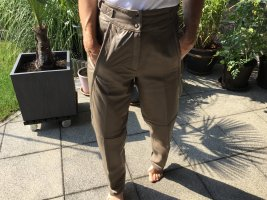MAYON Leather Trousers grey brown leather