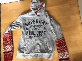Superdry Cárdigan de estilo noruego gris-rojo
