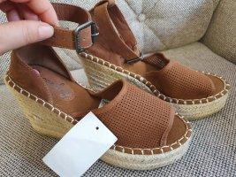 Superdry wedges sandalen neu gr. 38 Braun beige Sandaletten Keilabsatz keilsandaletten