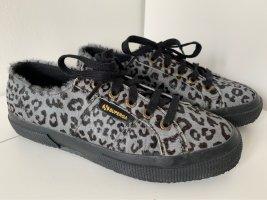SUPERGA Sneaker Gr. 37 Ponyfell Leoprint grau schwarz