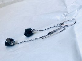 Swarovski Pendientes colgante color plata-negro