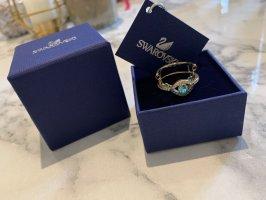 Swarovski Srebrny pierścionek złotopomarańczowy-jasnoniebieski