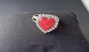 Swarovski Srebrny pierścionek różowy-srebrny