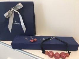 Swarovski Collier nero-rosso lampone