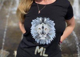 Swarowski ML T-Shirt schwarz Lion Unikat  Lion Gr.M Damen