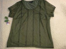 T-Shirt khaki oliv Herbst farbe mit Netz Netzshirt 44