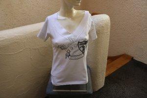 Tamaris T-Shirt white-silver-colored cotton