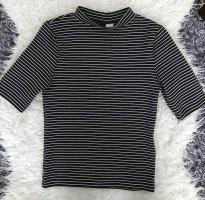 H&M Top de cuello de cisne blanco-negro