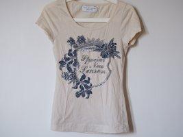 T-Shirt, mit Print und Perlen / Pailletten, Zara Collection, S, Jersey/Baumwolle