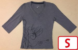T-Shirt mit V-Ausschnitt, 3/4 ärmlig, Gr. S