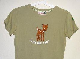 T-Shirt rundhals Bleib mir treu Reh Khaki/Braun Gr.S Adelheid (NP: 30€)