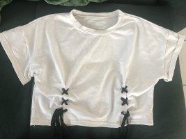 Koszula o skróconym kroju czarny-biały