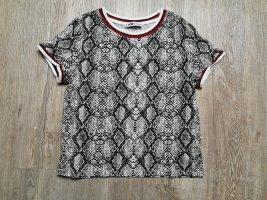 T-Shirt shirt kurz XS New Yorker Schlangenoptik Schlangenprint schwarz weiß grau